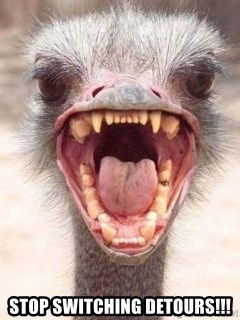 Angry White Ostrich -  STOP SWITCHING Detours!!!