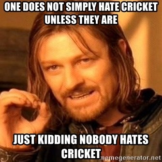 One Does Not Simply - one does not simply hate cricket unless they are just kidding nobody hates cricket