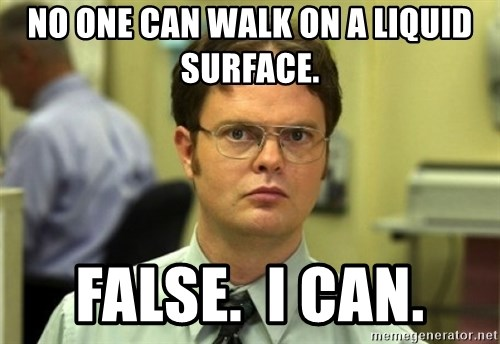 Dwight Meme - No one can walk on a liquid surface. False.  I can.