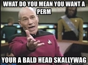 Picard Wtf - what do you mean you want a perm your a bald head skallywag
