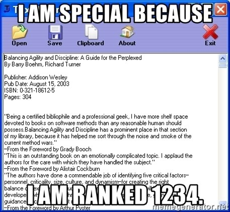 Text - i am special because i am ranked 1234.