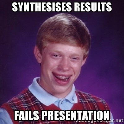 Bad Luck Brian - Synthesises results fails presentation