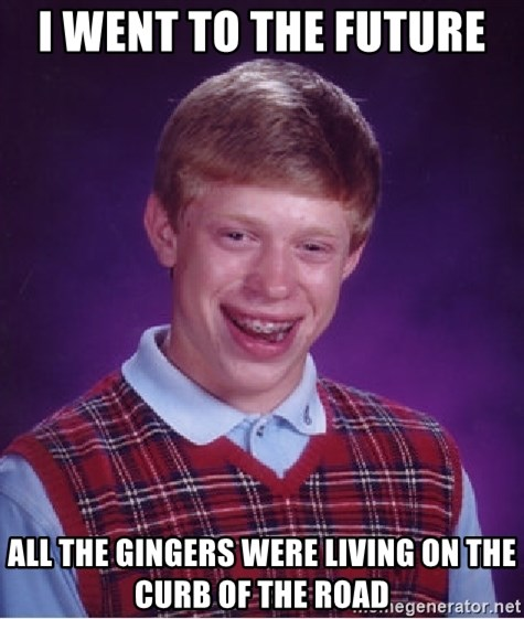 Bad Luck Brian - I went to the future  All the gingers were living on the curb of the road