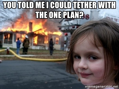 Disaster Girl - you told me i could tether with the one plan?