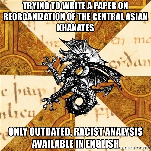 History Major Heraldic Beast - Trying to Write a paper on Reorganization of the Central Asian Khanates Only outdated, racist analysis available in English