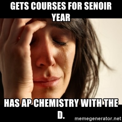 crying girl sad - GetS courses for Senoir year Has aP Chemistry with the D.