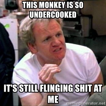 Gordon Ramsay - This monkey is so undercooked It's still flinging shit at me