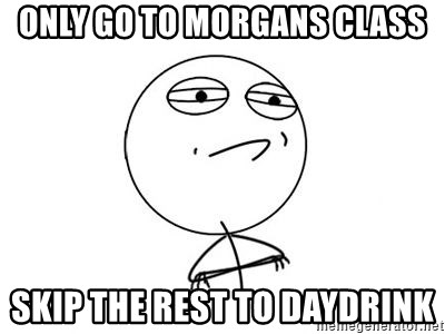 Challenge Accepted HD 1 - Only go to morgans class skip the rest to daydrink