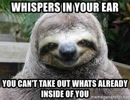 Sexual Sloth - wHISPERS IN YOUR EAR yOU CAN'T TAKE OUT WHATS ALREADY INSIDE OF YOU