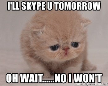 Super Sad Cat - I'll skype u tomorrow oh wait......no i won't