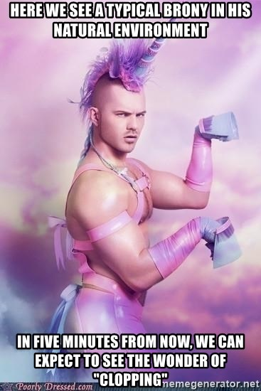 """Unicorn Boy - here we see a typical brony in his natural environment in five minutes from now, we can expect to see the wonder of """"clopping"""""""