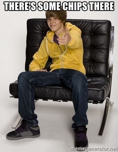 Justin Bieber Pointing - There's some chips there