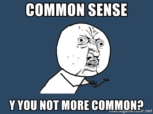 Y U No - Common sense y you not more common?