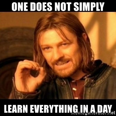 Does not simply walk into mordor Boromir  - One does not simply Learn everything in a day