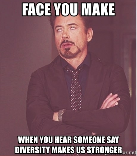 Robert Downey Junior face - Face You Make When you hear someone say diversity makes us stronger