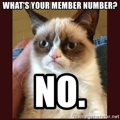 Tard the Grumpy Cat - What's your Member Number? NO.