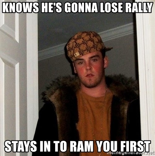 Scumbag Steve - Knows he's gonna lose rally stays in to ram you first
