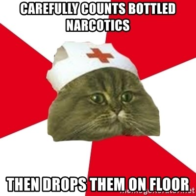 Nursing Student Cat - carefully Counts bottled narcotics then drops them on floor