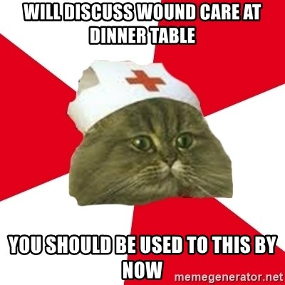 Nursing Student Cat - Will discuss wound care at dinner table you should be used to this by now