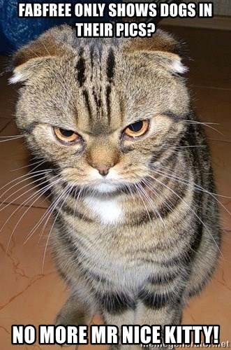 angry cat 2 - Fabfree only shows dogs in their pics? no more mr nice kitty!