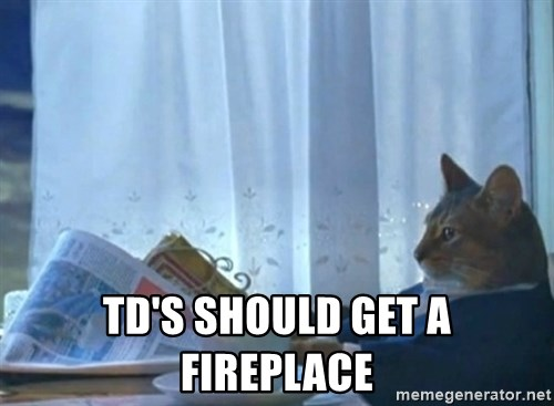 newspaper cat realization -  TD's should get a fireplace