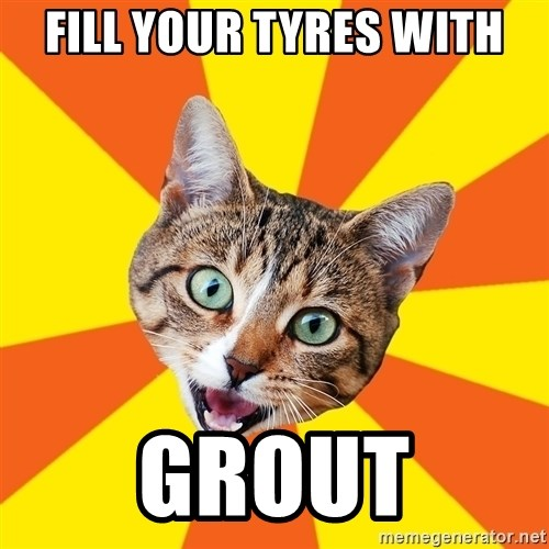Bad Advice Cat - fill your tyres with grout