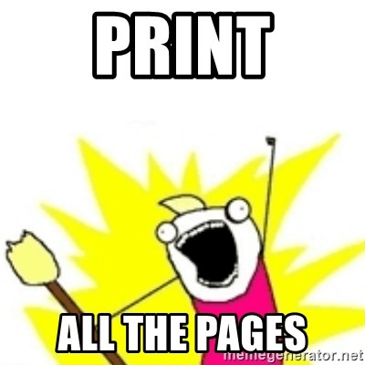 x all the y - Print all the pages