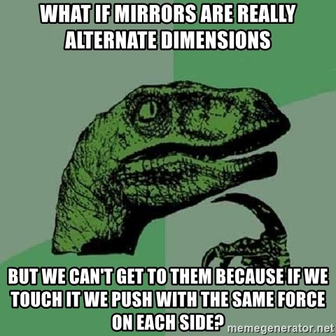 Philosoraptor - what if mirrors are really alternate dimensions but we can't get to them because if we touch it we push with the same force on each side?
