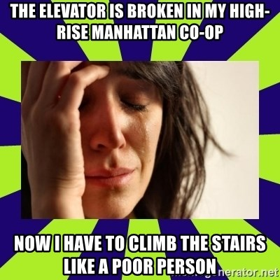 First World Problems - The elevator is broken in my high-rise manhattan co-op now i have to climb the stairs like a poor person