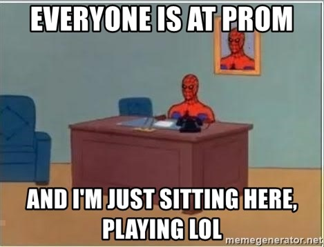 Spiderman Desk - Everyone is at prom and i'm just sitting here, playing lol