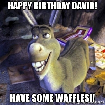Donkey Shrek - Happy birthday David! Have soMe waffles!!