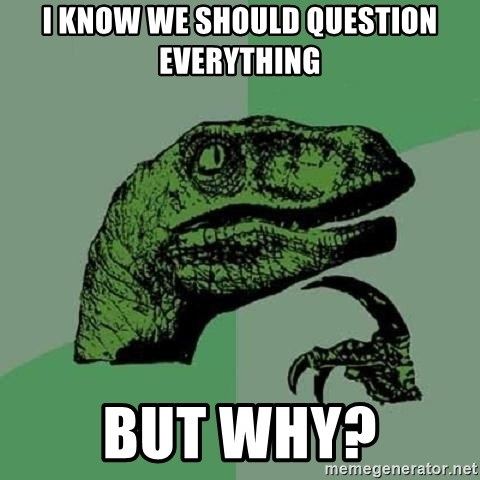 Philosoraptor - i know we should question everything but why?