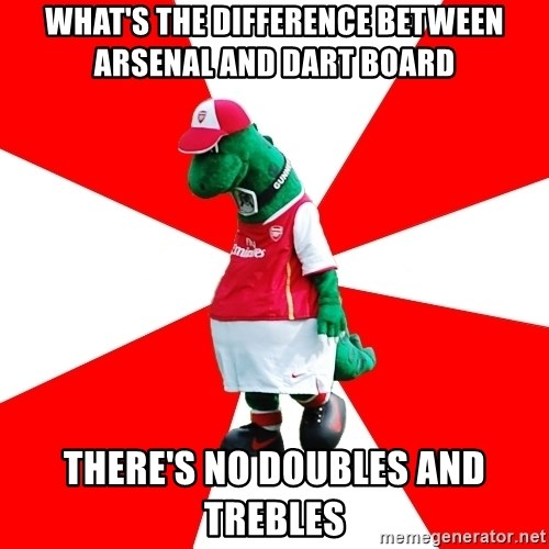 Arsenal Dinosaur - what's the difference between arsenal and dart board there's no doubles and trebles