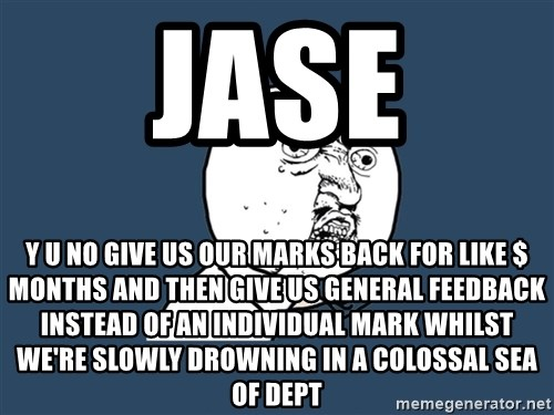 Y U No - JASE Y U NO GIVE US OUR MARKS BACK FOR LIKE $ MONTHS AND THEN GIVE US GENERAL FEEDBACK INSTEAD OF an individual mark WHILST WE're SLOWLY DROWNING IN A COLOSSAL SEA OF DEPT