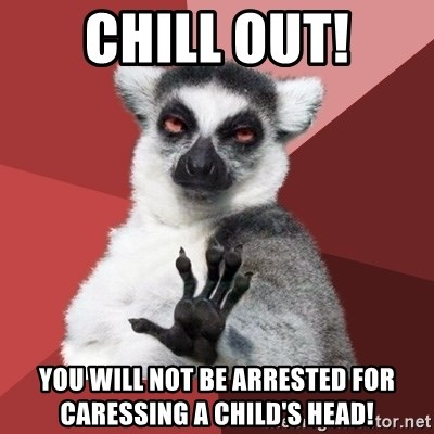 Chill Out Lemur - chill out! you will not be arrested for caressing a child's head!
