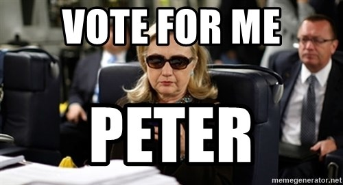 Hillary Clinton Texting - Vote for me Peter
