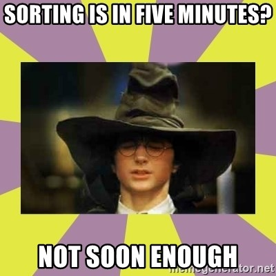 Harry Potter Sorting Hat - SORTING IS IN FIVE MINUTES? NOT SOON ENOUGH