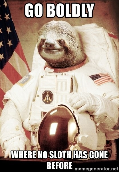 space sloth - Go boldly where no sloth has gone before