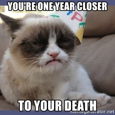 Birthday Grumpy Cat - you're one year closer to your death