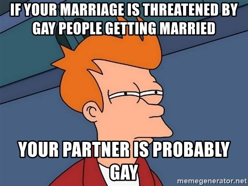 Futurama Fry - if your marriage is threatened by gay people getting married your partner is probably gay