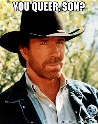 Brutal Chuck Norris - you queer, son?