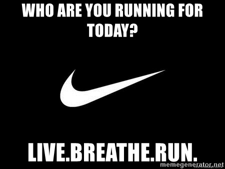 Nike swoosh - Who are you running for today? live.breathe.run.