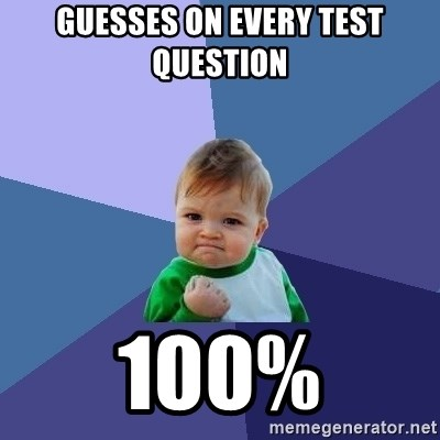 Success Kid - guesses on every test question 100%
