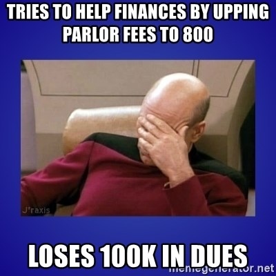 Picard facepalm  - tries to help finances by upping parlor fees to 800 Loses 100k in dues