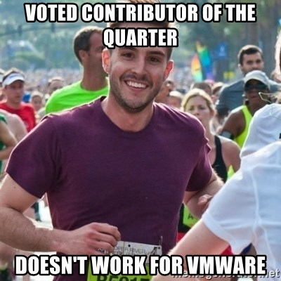 Incredibly photogenic guy - Voted Contributor of the quarter doesn't work for vmware