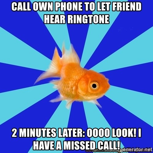 Absentminded Goldfish - call own phone to let friend hear ringtone 2 minutes later: oooo look! i have a missed call!