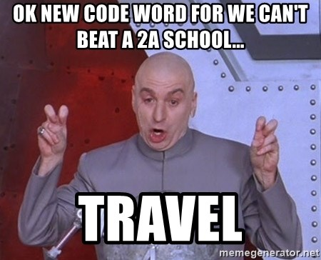 Dr. Evil Air Quotes - ok new code word for we can't beat a 2a school... travel