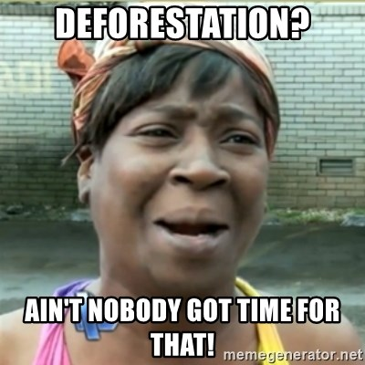Ain't Nobody got time fo that - deforestation? Ain't nobody got time for that!