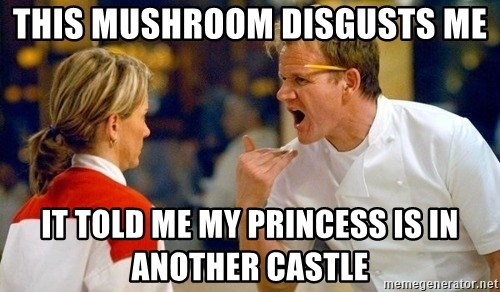 dave gordon ramsay - This mushroom disgusts me it told me my princess is in another castle