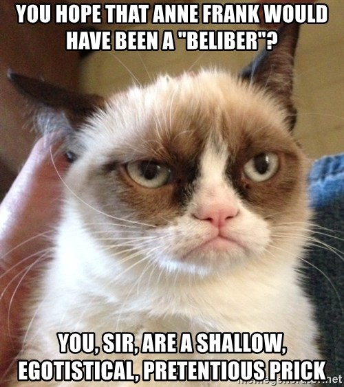 """Grumpy Cat 2 - You hope that anne frank would have been a """"beliber""""? You, sir, are a shallow, egotistical, PRETENTIOUS prick"""